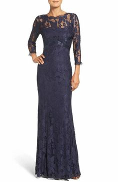 New Adrianna Papell Illusion Yoke Lace Gown Beaded Banding Navy Blue Size 12 Mob Dresses, Formal Dresses, Petite Dresses, Elegant Dresses, Wedding Dresses, Navy Gown, Mother Of The Bride Dresses Long, Brides Mom Dress, Nordstrom Dresses