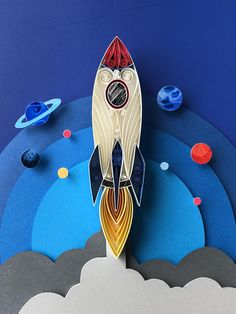 Space Rocket Quilling Art – Unique gift for baby/nursery, Pl… Quilled Paper Art, Paper Quilling Designs, Quilling Paper Craft, Quilling Patterns, Diy And Crafts, Crafts For Kids, Arts And Crafts, Space Themed Nursery, Nursery Room