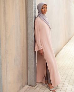 Vintage Oversized Shirt Dress with Slits Dove Grey Straight Leg Trousers Feather Grey Peach Skin Hijab www.inayah.co