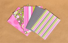 Blank Note Card Set // Pink, Green and Black Greeting Cards // Set of 5 Greeting Cards // Stationery // Cute Greeting Cards Set by TiddleywinksDesigns on Etsy