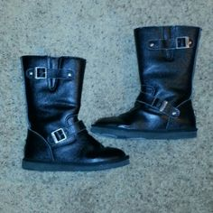"""UGG Boots Black leather with sheepskin lining boots with buckles across top and bottom 12"""" tall UGG Shoes Ankle Boots & Booties"""