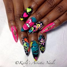 Graffiti Nail Art Inspired Design  by KerlysNails - Nail Art Gallery nailartgallery.nailsmag.com by Nails Magazine www.nailsmag.com #nailart