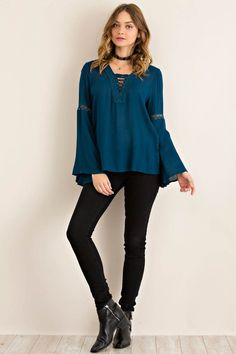 Solid Bell Sleeve Blouse Featuring V-Neckline