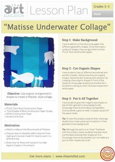 5th grade: Ocean Floor collage  Matisse Underwater Collage: Free Lesson Plan Download
