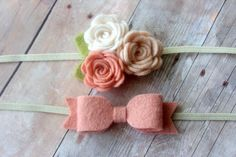 Felt headband set - newborn/baby/toddler headband - photo prop - baby headband set on Etsy, $9.50