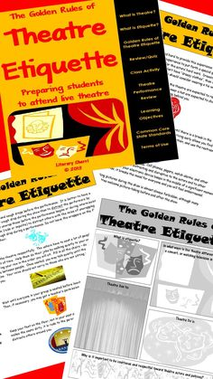 Prepare your students for successful and more meaningful theatre experiences! Use this lesson to pre-teach the protocols of theatre etiquette so that your students are prepared to attend live productions with all the social graces of a regular theatre-goer! This also helps students learn appropriate social skills and gain more from their theatre experience!