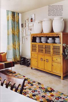 Chinese armoir and wattle pattern drapes  Australian Vogue Living