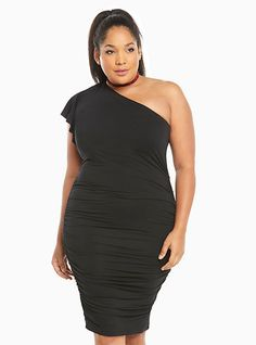 Plus Size One Shoulder Bodycon Dress, DEEP BLACK