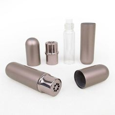 Mink Gray Aluminum and Glass Empty Essential Oil Personal Nasal Inhaler Refillable With Removable Bottle by Rivertree Life Essential Oil Inhaler, Essential Oils, Roll On Bottles, Glass Design, Doterra, Aromatherapy, Diffuser, How To Remove, Essentials