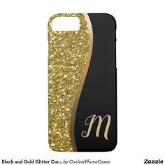 Black and Gold Glitter Curve Modern Monogram iPhone Case - gold gifts golden diy custom Unique Presents, Unique Gifts, Gold Gifts, Glitter Gifts, Gold Style, White Style, Monogram Gifts, Iphone Case Covers, Gold Glitter