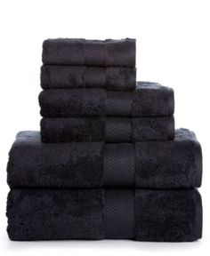 Luxury Cotton Bathroom Bath Towels: 6 Piece Towel Set for Household Bathrooms - Soft Plush and Absorbent Cotton with Double Stitch Hems - Bath / Shower Towels, Hand Towels, and Washcloths - BLACK Bathroom Bath, Bathroom Wall Decor, Bathroom Towels, Washroom, Kitchen Towels, Bathroom Ideas, Turkish Bath Towels, Turkish Cotton Towels, Black Towels