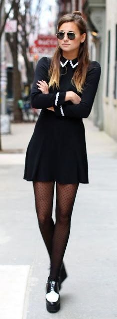 Women's fashion | Cute black dress with collar and sleeves details and polka dots tights