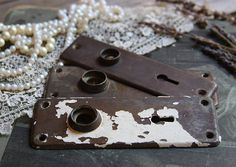 Vintage Distressed ESCUTCHEON Plates Old DOOR Hardware