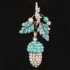 Antique turquoise pendant pearls acorn by adinantiquejewellery, $1000.00
