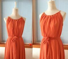Vintage Chiffon Dress Maxi Long Bridesmaid Dress Orange Color Plus size Dress with Sash Belt Keyhole Party Evening Dress Reception Dress. $89.00, via Etsy.