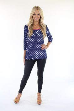 Lime Lush Boutique - Navy Polka Dot Top With Back Accent