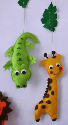 IKO Plush Jungle Baby Mobile - Crib Mobile - Nursery Jungle Mobile - Felt Mobile - Lion Monkey Giraffe Hippo Crocodile - Unique Baby Mobile