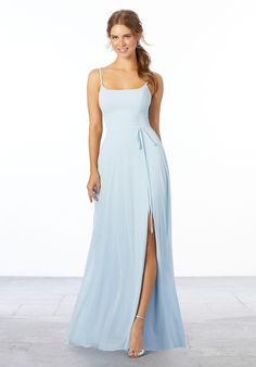 View Special Occasion Dress - Mori Lee Bridesmaids Spring 2020 Collection: 21668 - Chiffon Bridesmaid Dress with Tie Sash Mori Lee Bridesmaid Dresses, Bridal Dresses, Wedding Bridesmaids, Dressy Dresses, Prom Dresses, Nice Dresses, Evening Dresses, Chiffon, Tie