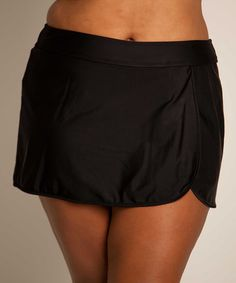Take a look at this Black Plus-Size Wrap Swim Skirt by Simply Swim on #zulily today!