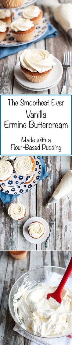 Less Sweet Flour Buttercream (aka: Ermine Buttercream) - This is the less sweet version of my famous flour buttercream. It's supersmooth, because it doesn't contain powdered sugar and is instead pudding-based! | http://thetoughcookie.com