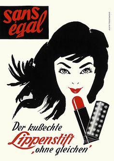 'Sans Egal' Lipstick  c. 1940s/50s  http://www.vintagevenus.com.au/vintage/reprints/info/FAS244.htm
