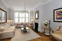 6 bedroom terraced house for sale in Cloncurry Street, Fulham, London, - Rightmove. Blue Wall Colors, Wall Paint Colors, Living Room Paint, Living Room Decor, Living Spaces, Dulux Polished Pebble, Dulux White Paint, Terraced House, Grey Room