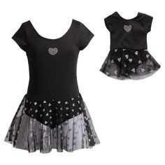aef749cf841 Black Heart Skirted Leotard   Doll Leotard - Girls by Dollie   Me