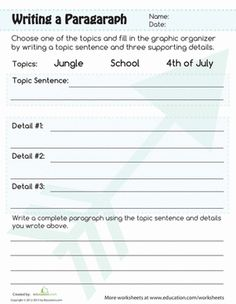 This paragraph writing worksheet gets your child back to the basics of writing. In this paragraph writing worksheet, kids will write using a graphic organizer. Paragraph Writing Worksheets, 4th Grade Writing Prompts, Third Grade Writing, Writing Topics, Writing Strategies, Academic Writing, Writing Lessons, Writing Workshop, Kids Writing