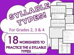 On sale for $3.20! Syllable Types 18 Practice Worksheets 6 Types! Grades 2, 3, 4