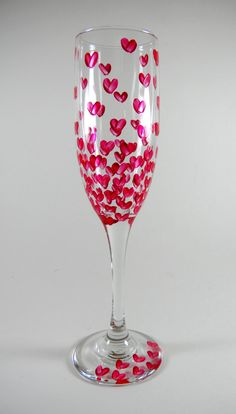 Champagne Hearts, Hand painted LOVE glass