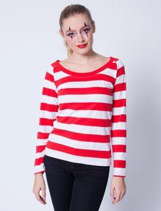 Damen Ringelshirt langarm (rot/weiß) für Karneval kaufen | Deiters | Kostüm | Karneval | Fasching | Outfit | Mottoparty | Halloween | Karnevalszug | Rosenmontag