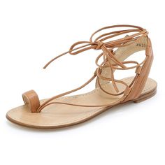 Stuart Weitzman Lasso Flat Sandals - Camel ($242) ❤ liked on Polyvore featuring shoes, sandals, flat sandals, sapatos, flats, toe ring sandals, leather sole sandals, leather sole shoes, leather flats and flat pumps