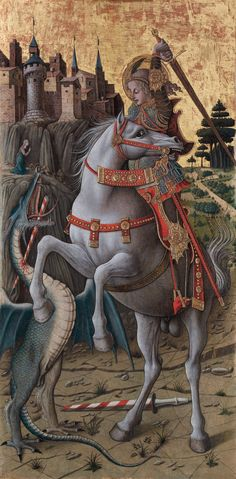 Crivelli compressed the story of Saint George – who saved a city and its princess from the marauding dragon – into a single, dynamic moment.   Carlo Crivelli, Saint George Slaying the Dragon, 1470, gold, silver and tempera on panel, 94 x 47.8 cm, Isabella Stewart Gardner Museum, Boston.