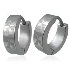 Cross Etched Hoop Huggie Stainless Steel Engraved Earrings ** Click image to review more details.