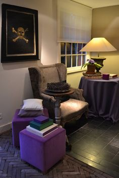 lampshade, chair and purple ottoman