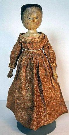 Antique wooden Grödnertal doll 16 inches, circa 1885.