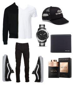 """Outfit for men"" by mirjamke ❤ liked on Polyvore featuring Simplex Apparel, Dear Deer, Marcelo Burlon, Vans, FOSSIL, Bulgari, Deus ex Machina, Prada, men's fashion and menswear"