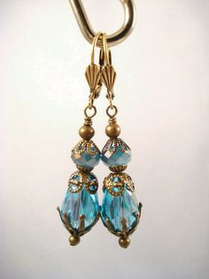 Teal Blue Downton Abbey Inspired  Earrings by SherisUniqueBoutique