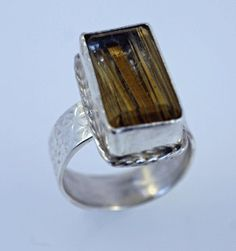 Rutile Quartz Ring in Sterling Silver Size 8 by SilverSpiral1, $51.00