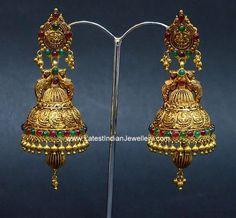 Gold Jhumka Earrings, Gold Bridal Earrings, Gold Wedding Jewelry, Gold Jewelry, Gold Earrings For Women, Gold Earrings Designs, Gold Jewellery Design, Mango Mala Jewellery, Jhumka Designs