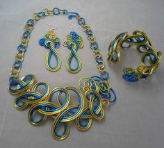 Flat wire jewelry project with pearls Earrings Necklace Bracelet