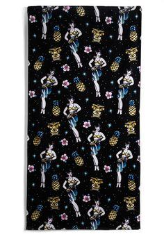 Hula, I Love You Beach Towel - Black, Multi, Novelty Print, Beach/Resort, Vintage Inspired, Fruits, Summer, Cotton, Travel
