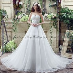 Glamorous Sweetheart Sleeveless Beaded Belt Lace-Up Court Train Organza Wedding Dresses SQS040