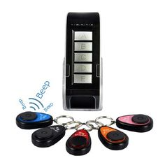 Wireless Key Finder set with 1 Transmitter and 5 Receivers - the convenient, high tech solution to finding your keys, cell phone, and other small gadgets is here. Never misplace anything again!
