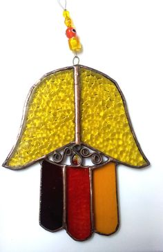 Stained Glass Hamsa Warm colors Judaica Art Evil by Silvinadesigns, $35.00