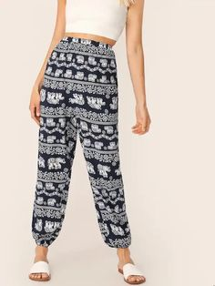 To find out about the Tribal Print High Waist Lantern Pants at SHEIN, part of our latest Pants ready to shop online today! Tribal Pants, Navy Fabric, Type Of Pants, Pants For Women, Clothes For Women, Straight Leg Pants, Autumn Summer, Fashion News, Fashion Women