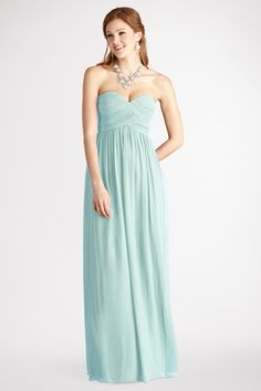 @Donna Morgan - Laura - A Beach Glass sweetheart neckline and flirty skirt flatter everyone that wears this delicate chiffon gown.