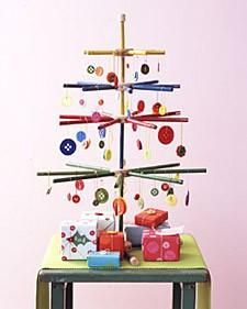 Tinker toys and Buttons Christmas Tree - Martha Stewart Crafts -- would be so cute in the playroom!!!