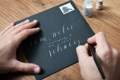 Calligraphy on envelope – www.monogramsandsignets.com