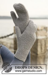 """Pearl - Knitted DROPS mittens in """"Lima"""". - Free pattern by DROPS Design"""